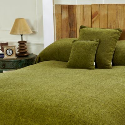 Mélange Chenille Twin Coverlet in Green