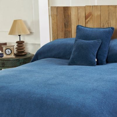 Mélange Chenille Full/Queen Coverlet in Blue Wave