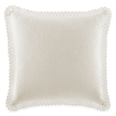Laura Ashley® Quilted European Pillow Sham with Crocheted Trim in Ivory