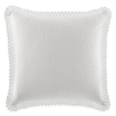 Laura Ashley® Quilted European Pillow Sham with Crocheted Trim in White