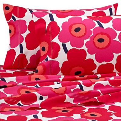 marimekko® Unikko Queen Sheet Set in Red