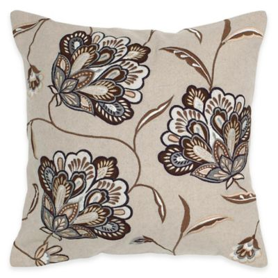 Rizzy Home Cut-Out Square Throw Pillow in Beige