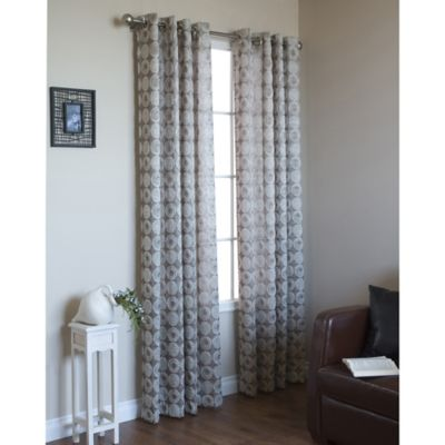 Commonwealth Home Fashions Mayan 84-Inch Grommet Window Curtain Panel in Silver