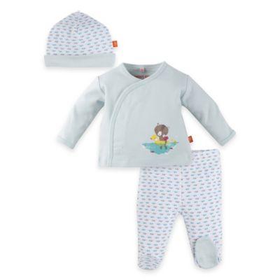 Magnificent Baby® Newborn 3-Piece Swim Club Kimono, Pant and Hat Set in Mint