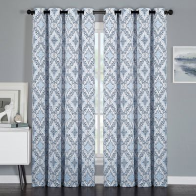 VCNY Mosaic 84-Inch Grommet Top Window Curtain Panel in Indigo