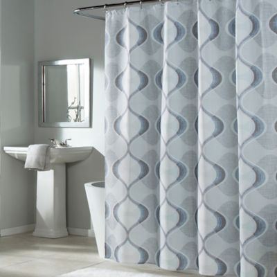 buy blue and grey fabric shower curtains from bed bath