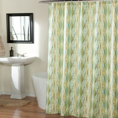 m.style Helix Shower Curtain in Blue/Mint