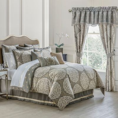 Waterford® Linens Darcy Reversible King Comforter Set in Pewter