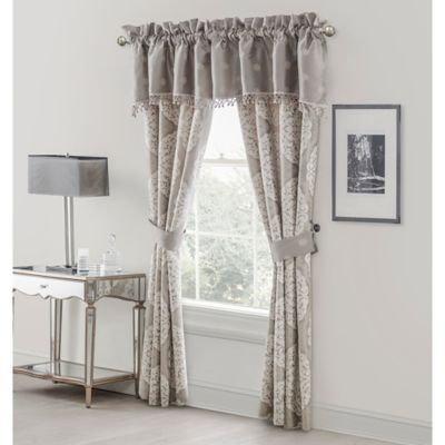 Waterford® Linens Darcy 50-Inch Rod Pocket Lined Window Curtain Panel Pair in Pewter