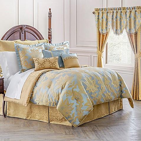 buy waterford linens juliette reversible queen comforter set in blue gold from bed bath beyond. Black Bedroom Furniture Sets. Home Design Ideas