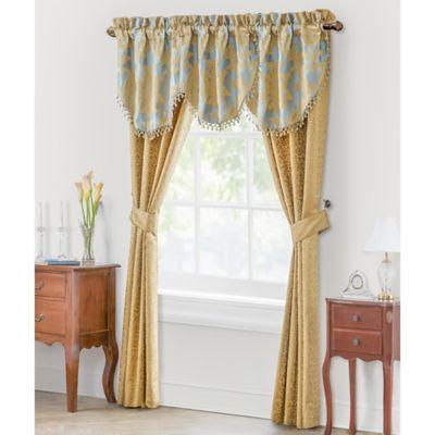 Waterford® Linens Juliette 25-Inch Cascade Window Valance in Blue/Gold