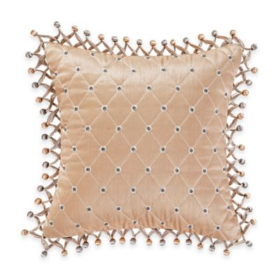 Waterford® Linens Darcy Quilted Square Throw Pillow in Gold
