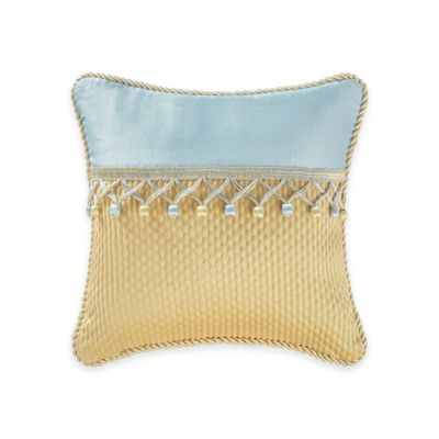 Waterford® Linens Juliette Square Throw Pillow in Blue/Gold