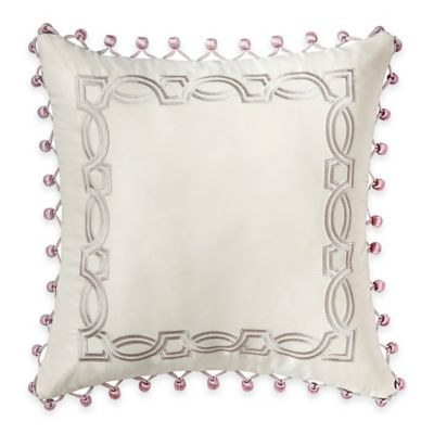Veranda Embroidered Throw Pillow in Ivory