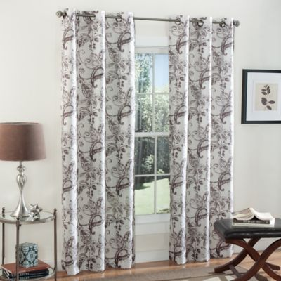 m.style Batik Blossom 84-Inch Grommet Top Window Curtain Panel Pair in Coco