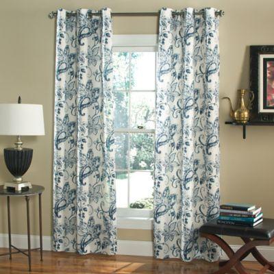 m.style Batik Blossom 84-Inch Grommet Top Window Curtain Panel Pair in Indigo