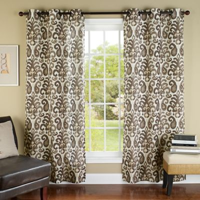 m.style Ikat Plume 84-Inch Grommet Top Window Curtain Panel Pair in Coffee/Bronze