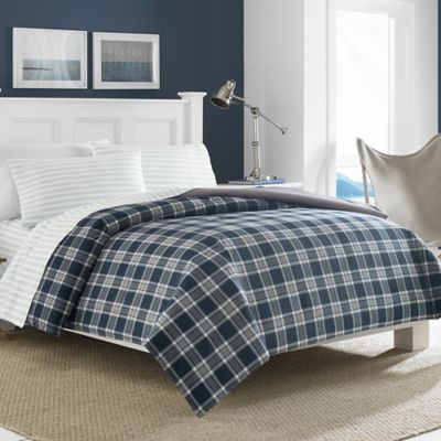 Navy Blue and White Striped Comforter