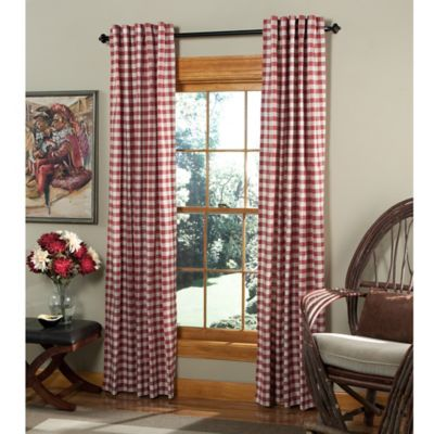 m.style Classic Check 84-Inch Rod Pocket/Back Tab Window Curtain Panel Pair in Red