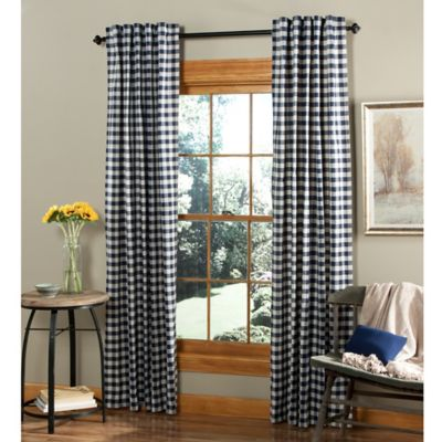 m.style Classic Check 84-Inch Rod Pocket/Back Tab Window Curtain Panel Pair in Denim