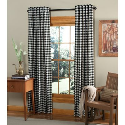 m.style Classic Check 84-Inch Rod Pocket/Back Tab Window Curtain Panel Pair in Midnight