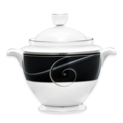 Noritake® Platinum Wave Ebony Covered Sugar Bowl