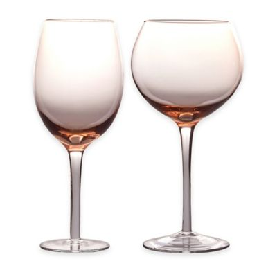 Certified International 8-Piece Red and White Wine Glass Set in Pink