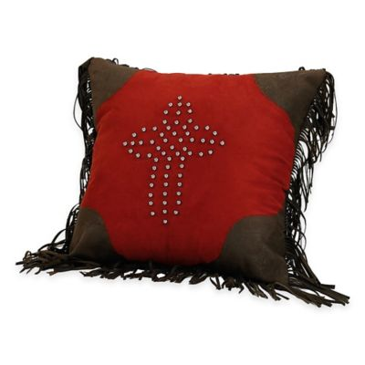 HiEnd Accents Red Rodeo Studded Cross 18-Inch Throw Pillow in Red/Brown