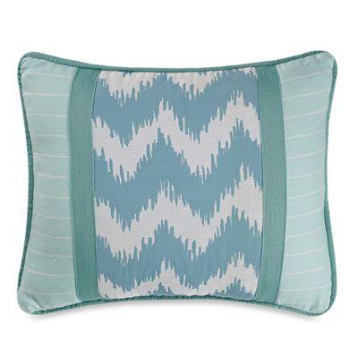 Catalina Chevron and Stripes Boudoir Throw Pillow in Aqua/White