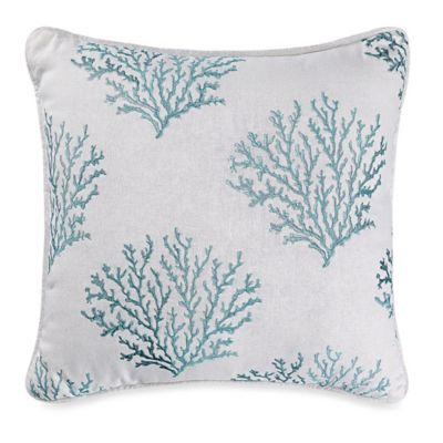 HiEnd Accents Catalina Coral Square Throw Pillow in Aqua/White