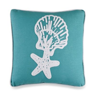Catalina Star and Shell Square Throw Pillow in Aqua/White