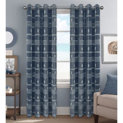 Knot Plaid 63-Inch Grommet Top Window Curtain Panel in Blue/White