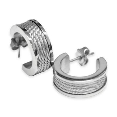 Charriol Stainless Steel Silvertone Cable Half Hoop Post Forever Earrings