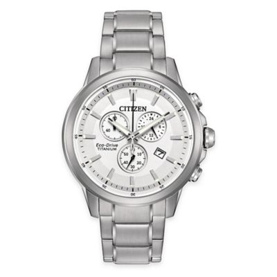 Citizen Eco-Drive Men's 42mm Chronograph Watch in Titanium with White Dial