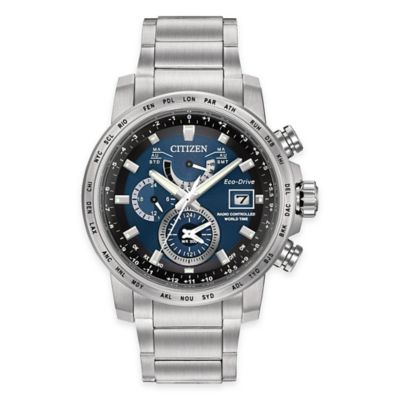 Citizen Eco-Drive H820 Men's 44mm World Time A-T Watch in Stainless Steel with Blue Dial