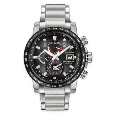 Citizen Eco-Drive World Time A-T Men's 44mm Atomic Timekeeping Watch in Stainless Steel