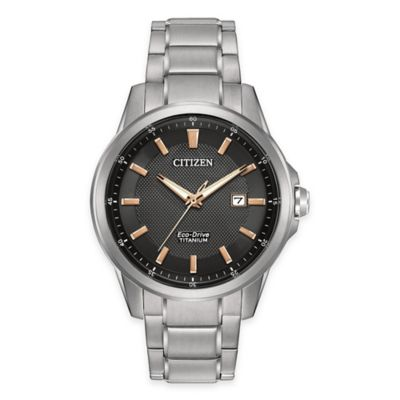 Citizen Eco-Drive Titanium Men's 42mm Rose Gold Accented Black Dial Watch in Stainless Steel
