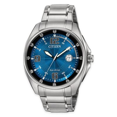Citizen Eco-Drive WDR Men's 42mm Watch in Stainless Steel with Metallic Blue Dial