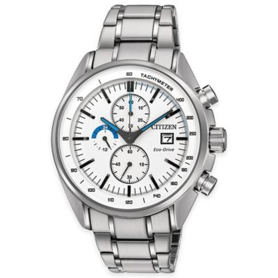 Citizen Eco-Drive Men's 44mm HTM Chronograph Watch in Stainless Steel with White Dial