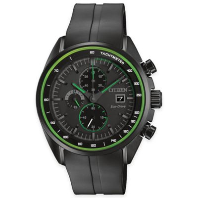 Citizen Eco-Drive Men's Chronograph HTM Watch in Black Ion-Plated Stainless Steel with Green Accents