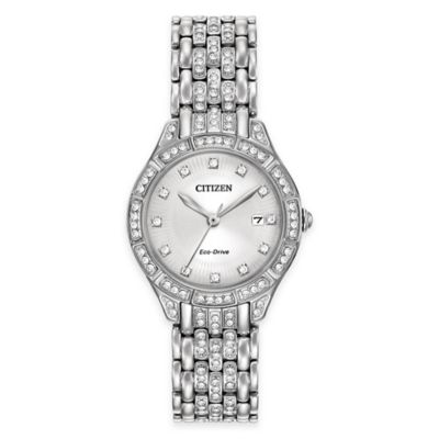 Citizen Eco-Drive Ladies' Silhouette Bracelet Watch in Stainless Steel with Swarovski® Crystals