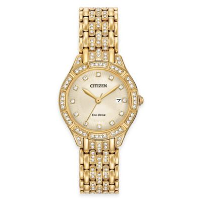 Citizen Eco-Drive Ladies' Silhouette Watch in Goldtone Stainless Steel w/Swarovski® Crystals