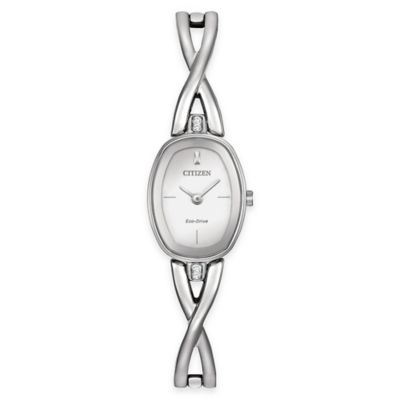 Citizen Eco-Drive Ladies' Swarovski® Crystal Silhouette Bangle Watch in Stainless Steel