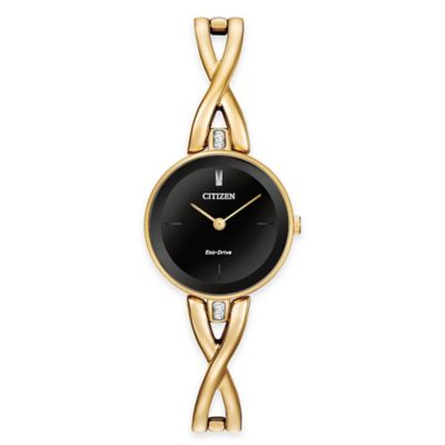 Citizen Eco-Drive Silhouette Ladies' 23mm Round Black Dial Watch in Goldtone Stainless Steel