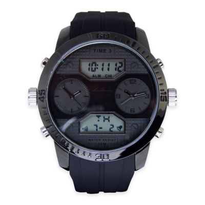 ADM Men's Twin Cities Sport Chronograph Watch in Black Ion-Plated Stainless Steel with Black Strap