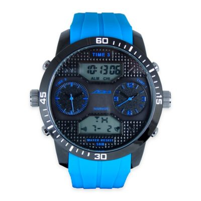 ADM Men's Twin Cities Sport Chronograph Watch in Black Ion-Plated Stainless Steel with Blue Strap