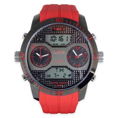 ADM Men's Twin Cities Sport Chronograph Watch in Black Ion-Plated Stainless Steel with Red Strap