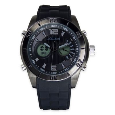 ADM Men's 52mm New York Chronograph Watch in Black Ion-Plated Stainless Steel with Black Strap