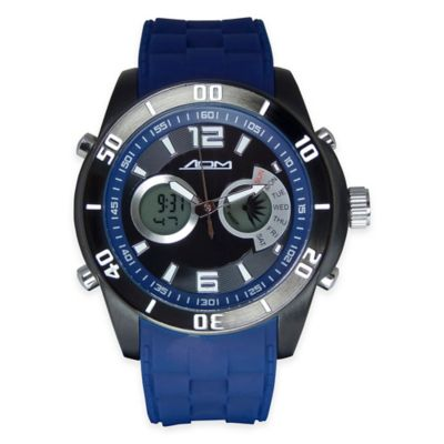 ADM Men's 52mm New York Chronograph Watch in Black Ion-Plated Stainless Steel with Blue Strap