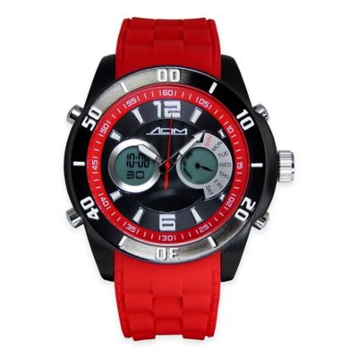 ADM Men's 52mm New York Chronograph Watch in Black Ion-Plated Stainless Steel with Red Strap
